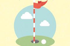 高尔夫球洞和果岭旗矢量素材