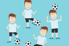 4款足球运动员设计矢量素材