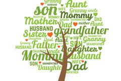 绿色单词家族树矢量素材