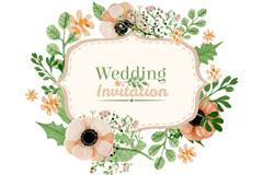 水彩花朵婚礼请柬矢量素材