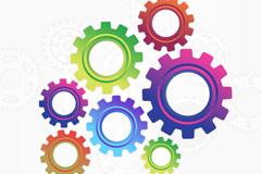 彩色齿轮组设计矢量素材