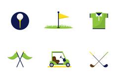 9款创意高尔夫图标矢量素材