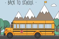开往学校的黄色校车矢量素材