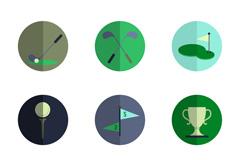9款高尔夫元素图标矢量素材