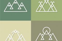 4款抽象山标志设计矢量图