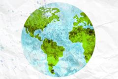 水彩绘美丽地球矢量素材
