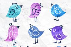 9款水彩绘小鸟儿矢量素材