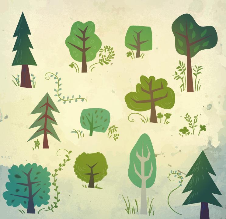 ai格式,含jpg预览图,关键字:树林,卡通,树木,植物,草,矢量图.