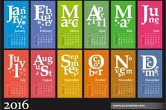 彩色2016年猴年年历矢量图