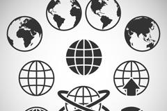 10款黑色抽象地球素材矢量图