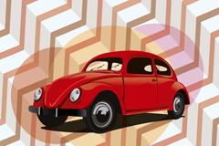 复古红色轿车矢量素材