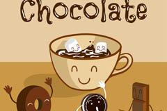 卡通美味热巧克力插画矢量素材