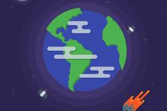 太空中的地球和火箭矢量图