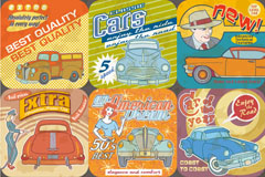 9款复古汽车海报矢量素材