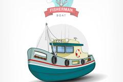 卡通渔船设计矢量素材