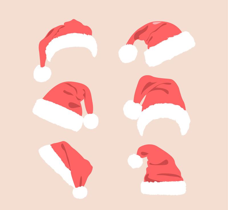 6款红色圣诞帽矢量素材 ǟ�量节日 Ƈ�人图库