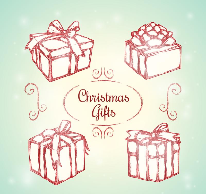圣诞节礼物盒折纸-4款手绘圣诞礼盒矢量素材图片