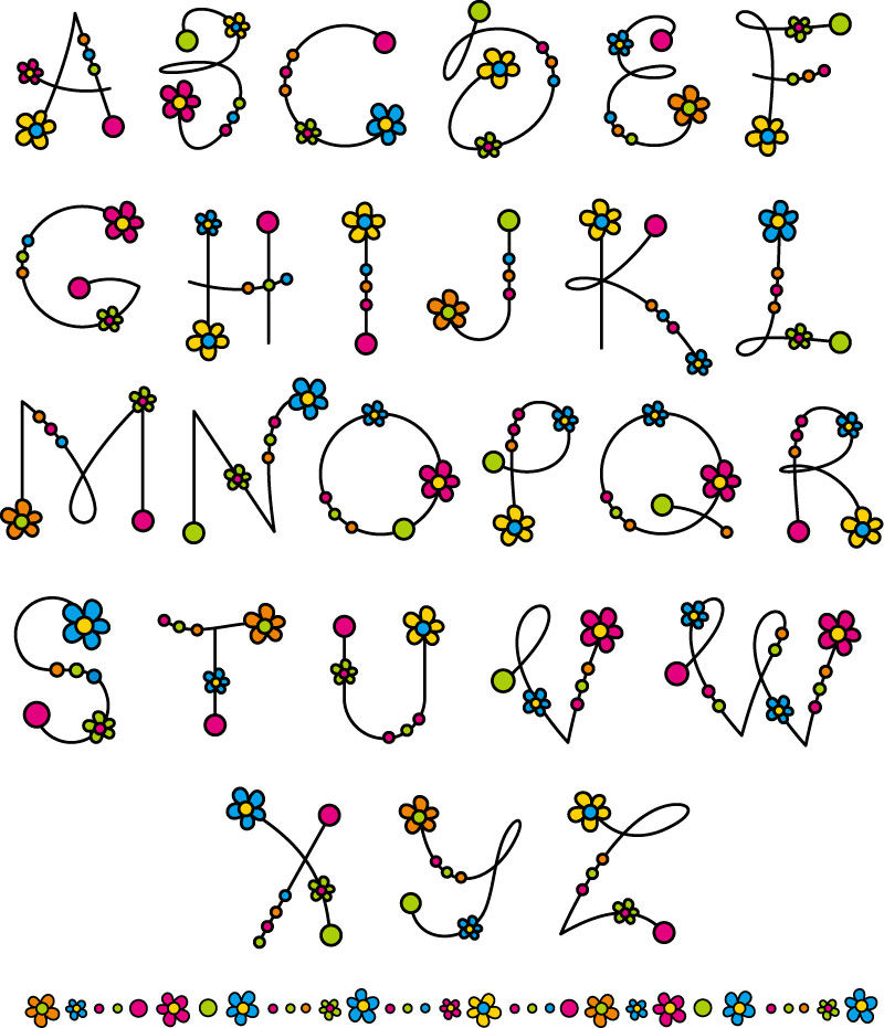矢量字体   eps格式,含jpg预览图,关键字:花,花朵,字母,艺术字,英文图片
