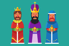 卡通三个国王设计矢量图