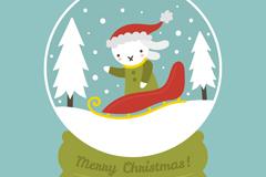 卡通白兔雪花玻璃球矢量素材