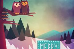 雪中猫头鹰圣诞贺卡矢量图