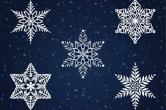 5款白色雪花设计矢量素材