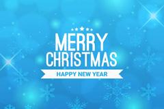 蓝色雪花圣诞贺卡矢量素材