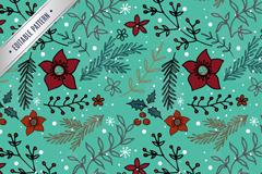 圣诞植物无缝背景矢量素材