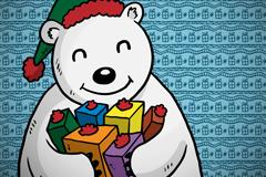 卡通抱礼盒的北极熊矢量素材