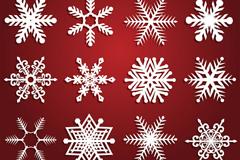 16款白色雪花设计矢量素材