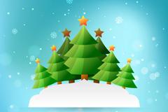 绿色圣诞树林贺卡矢量素材
