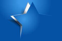 蓝色星星剪纸矢量素材