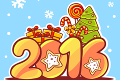 2016年卡通圣诞贺卡矢量图