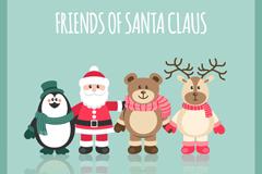 4个可爱圣诞角色矢量素材