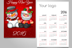 可爱圣诞老人和雪人年历矢量图