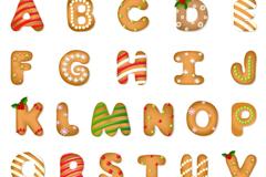 28个圣诞饼干字母和符号矢量图
