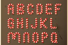 26个圣诞糖果英文字母矢量图