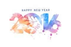 水彩2016新年艺术字矢量图