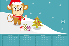 2016年可爱猴子年历矢量素材