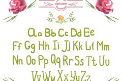 26个水彩手写大小写字母矢量图
