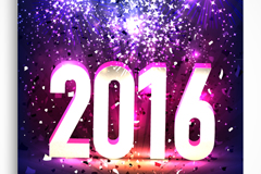 2016年新年派对宣传单矢量图