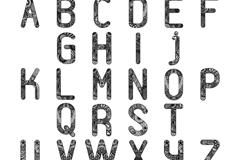 26个黑色花纹字母矢量素材