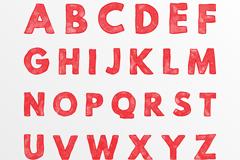 26个红色英文字母矢量图