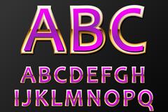 36个金边紫色字母和数字矢量图