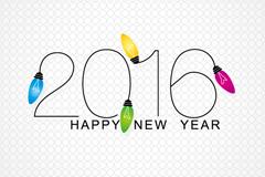 2016年彩色灯泡贺卡矢量图