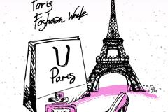 彩绘巴黎元素矢量素材