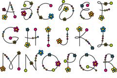 26个花朵字母设计矢量图