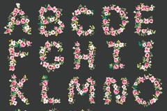 26个创意花卉字母矢量素材