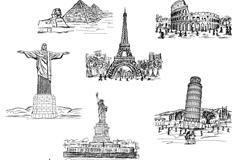 8款手绘世界著名建筑矢量图