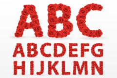 26个红玫瑰字母设计矢量图